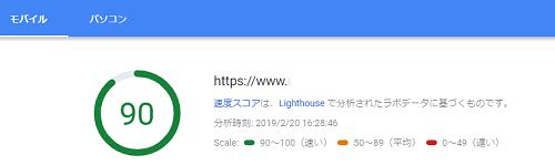 ページスピードインサイトのモバイルでのスコア